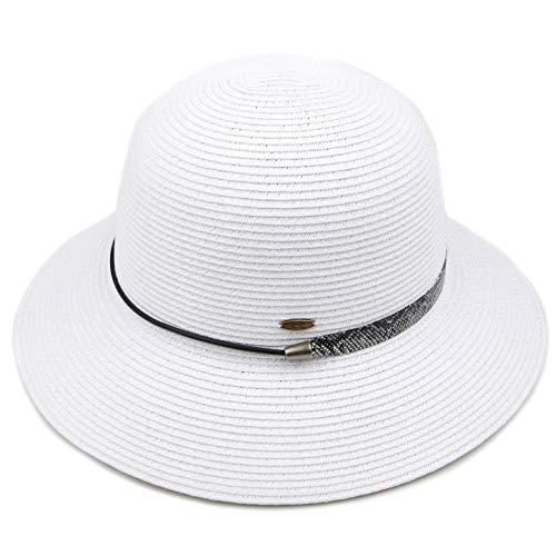 HATSANDSCARF Paper Straw Ribbon Trim Cloche Sun Hat (ST-801) (Snake Trim-White)