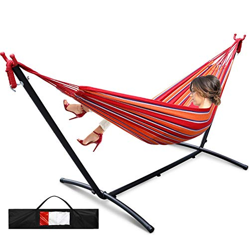 Viewee Portable Hammock with 9 FT Stand Space Saving, Heavy Duty Hammock Stands Includes Portable Carrying Case for Outdoor or Indoor(Red)