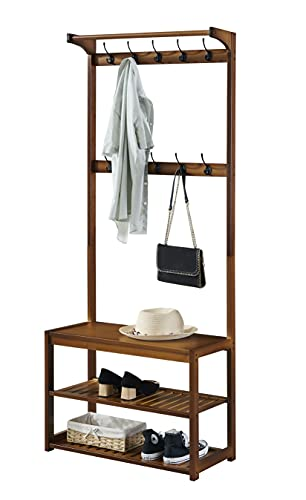 SeiriOne Entryway Coat Rack Shoe Bench Storage Shelf, 3-In-1 Design Bamboo Hall Tree for Entrance, Foyer, Mudroom etc, 10 Double Hooks, Easy Assembly
