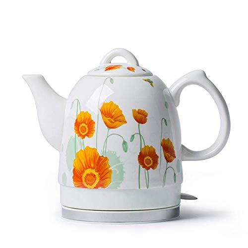 Hervidor eléctrico de cerámica Té de agua inalámbrico, 1,5L jarra de té-retro,...