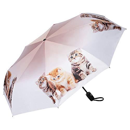 VON LILIENFELD Regenschirm Taschenschirm Katzentrio Windfest Auf-Zu-Automatik Kätzchen Kinderschirm Stabil Leicht Kompakt