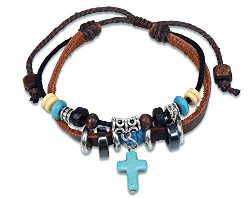 Christliche Geschenkideen Lederarmband mit Kreuz und Perlen Silber/türkis