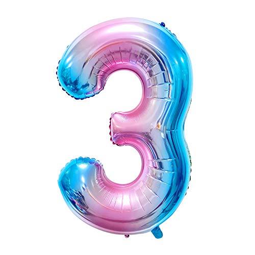 Siumir Globo de Número Gelatina Globo Número Grande Número 3 Papel De Aluminio Globo Decoración de Fiestas de Cumpleaños