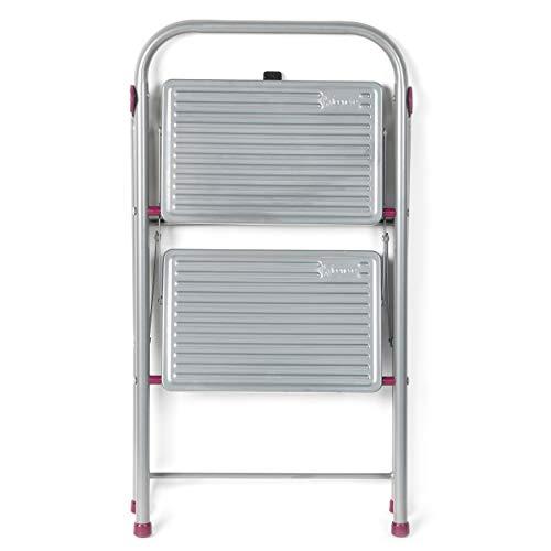 Escalera plegable KL068491EU de 2 escalones, 80cm, rosa/gris, capacidad de 150kg de Kleeneze