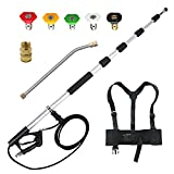 jOYjOB Pressure Washer Telescopic Wand Pressure Washer Extension Wand Power Washer Telescopic Spray Wand with Belt for 4000 PSI Power Washer Extension Lance, 18ft