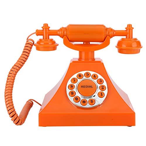 Teléfono antiguo, naranja, llamada de alta definición, cableado de EE. UU. / Reino Unido, teléfono fijo con botón grande y transparente, chip inteligente de voz integrado, para oficina en casa