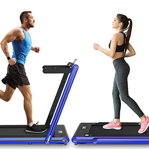 Folding Treadmill for Home, 2.3HP 2-IN-1 Running & Jogging Machine, Installation Free, Bluetooth Speaker, Remote Control, LED Display, Lower Noise, Under Desk Storage (Blue)