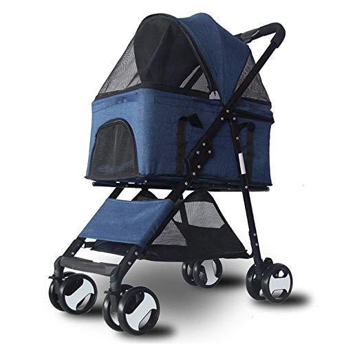 MZP Haustier-Tragetasche Für Hunde Und Katzen, Tragbare Hundewagen & Pet Kinderwagen, Tierbuggy, Jogger, Buggy Für Reisen (Color : Blue)