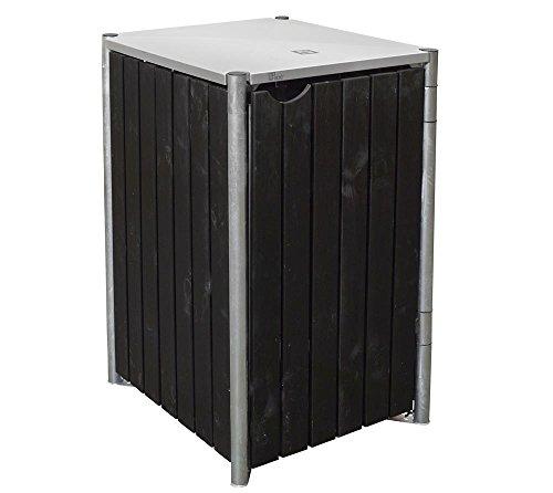 Hide Mülltonnenbox, Mülltonnenverkleidung, Gerätebox Natur // 60x63x115 cm (BxTxH) // Aufbewahrungsbox für 1 Mülltonne 140l Farbauswahlvariante Natur Schwarz