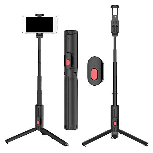 duoying Selfie Stick Trípode, Bluetooth Selfie Stick con soporte para trípode y mando a distancia desmontable, monopié extensible para viajes familiares - Compatible con iOS Android