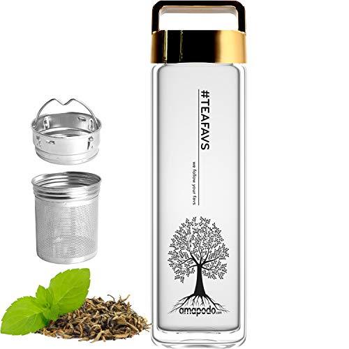 amapodo Teeflasche aus Glas mit Edelstahl Sieb - Tee Flasche 400ml - Teekanne to go - Trinkflasche doppelwandig mit Deckel Gold