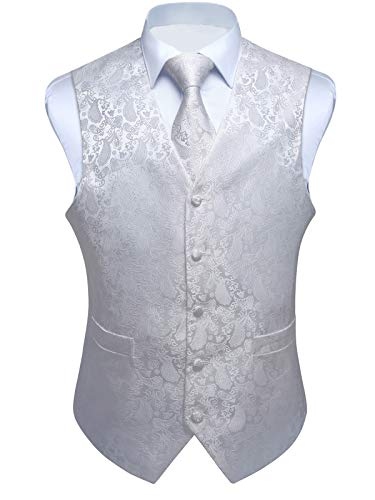 ENLISION Herren Paisley Weste Krawatte Einstecktuch Taschentuch Jacquard Weste Anzug Set, Weiß, Gr.- M(Chest size 44')