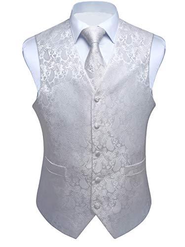 ENLISION Herren Paisley Weste Krawatte Einstecktuch Taschentuch Jacquard Weste Anzug Set, Weiß, Gr.- 3XL(Chest size 54')