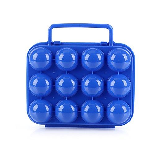 CFtrum Acampada huevera de plástico Plegable para 12 Huevos, Color Azul