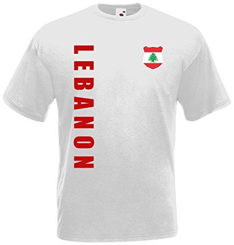 Libanon Lebanon WM-2022 T-Shirt Trikot Wunschname Nummer Weiß XL