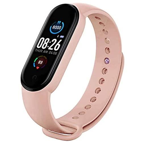 Rastreador de actividad, pulsera inteligente impermeable con monitor de ritmo cardíaco y sueño, contador de pasos, 11 modos de deporte (rosa)