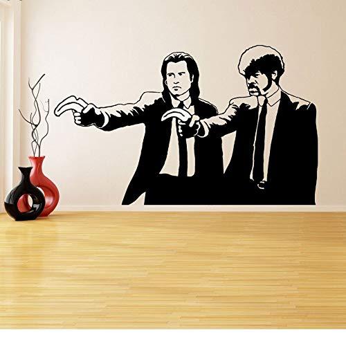 Muursticker Vinyl Sticker Banksy Pulp Fictie Graffiti Jongens met Kleur Banaan Pistolen Twee Mannen in Diner Jassen Art Mural