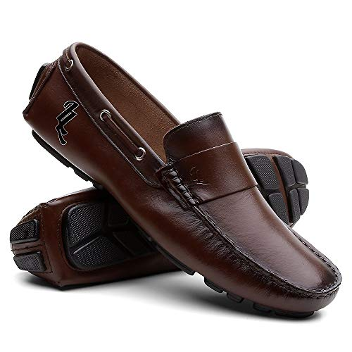 Sapato Casual Couro Mocassim - Café - 40