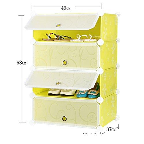 Chaussure Combinaison de Simples Xiejia ménagers Rack Shoe poussière Assemblée Plastique (Couleur : Le Jaune)
