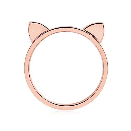 ELBLUVF 18 K Rose vergoldet Titan Katze Ohren Ring Katze Ring