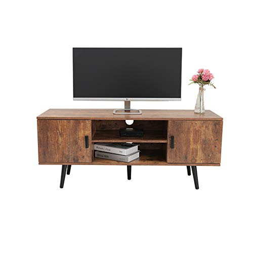 IWELL Mid-Century Modern TV Stand for Living Room, TV Console Storage Cabinet, Retro Home Media Entertainment Center for Flat Screen TV Cable Box...