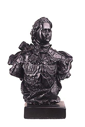 Russischer Zar / Kaiser Peter I. der Große Stein Büste Statue Skulptur 15 cm schwarz