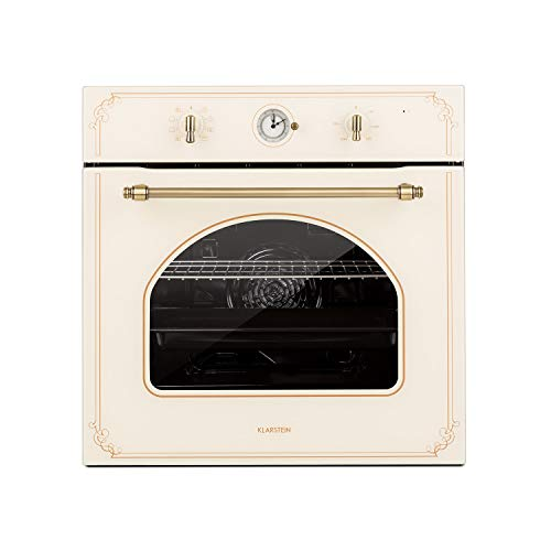 Klarstein Victoria Einbaubackofen - Elektrobackofen, 9 Funktionen, Timer, 50-250 °C, 70 Liter, 10 Einschübe, aushängbare Ofentür für einfache Reinigung, Beleuchtung, elfenbein