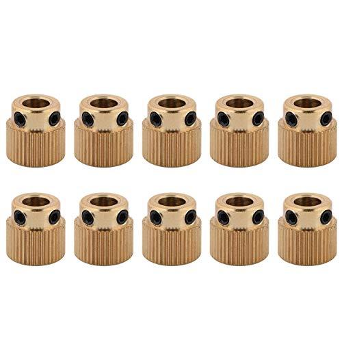 10pcs MK8 Extruder Gear, 3D Stampanti Ingranaggi in Ottone di Alta Qualità, Easy Extruder Gear Wheel 5mm per Stampante 3D MK7 MK8 Extruder 26/40 Denti Gold(40 denti)