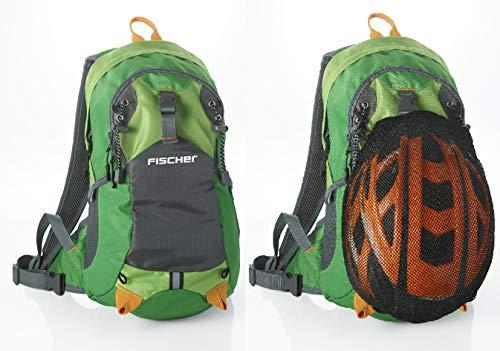 FISCHER Rucksack mit Helmnetz, Trinkblasenöffnung, Regencover, ergonomisches Tragesystem, Hüftgurt, Brustgurt