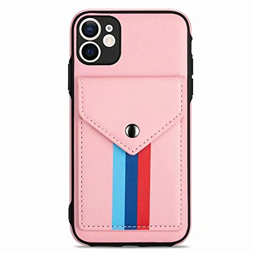 Funda para iPhone 7 Plus, iPhone 8 Plus, con tarjetero, funda tipo libro a prueba de golpes, de piel, función atril, funda de silicona para iPhone 7 Plus, iPhone 8 Plus, funda de teléfono rosa