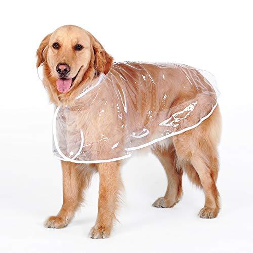 WEIJ Grote Honden Regenjas Transparant waterdicht Outdoor Kleding, 6XL (bust 84-89cm), Transparant