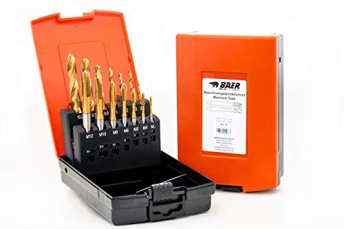 BAER Set HSSE-TIN: Maschinengewindebohrer Durchgangsloch   Kernlochbohrer: M 3-12 - Gewindeschneider-Set