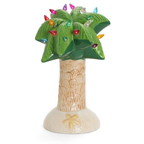 Milltown Merchants Christmas Palm Tree - Ceramic Palm Tree Christmas Tree - Tabletop Christmas Tree with Lights - Palm Tree Decor - Lighted Palm Tree - Christmas Beach Decor