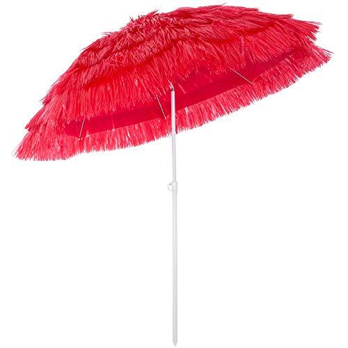 Kingsleeve Sonnenschirm Hawaii Ø 160 cm Neigefunktion höhenverstellbar rot Terrassenschirm Balkonschirm Strandschirm