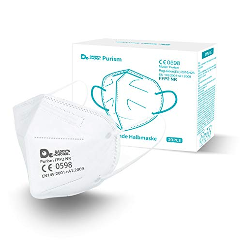 Purism 20 Stück FFP2 Atemschutzmaske Staubschutzmaske Atemmaske CE Zertifiziert 5-lagige Masken Nasen - Mundschutzmaske