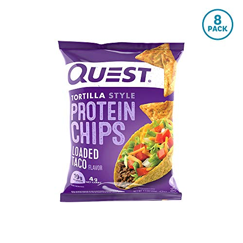 Quest Nutrition Tortilla Style Protein Chips, Loaded Taco, Low Carb, Gluten Free, Baked, 8 Count