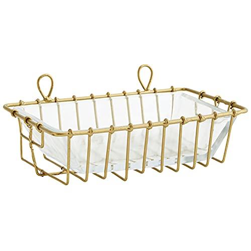 MACOSA MS27268 - Portasapone in vetro e metallo dorato, stile vintage, per saponetta