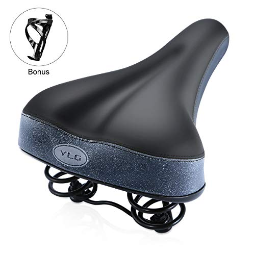 YLG Bike Seat Most Comfortable Bicycle Seat Super Shock Absorbing Bicycle Saddle -Best Universal Replacement for Men Women Mountain Bikes, Road Bikes,Memory Foam, Waterproof,with Bottle Cages