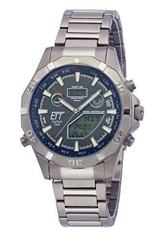 ETT Eco Tech Time Funk Solar Weltzeit Herren Uhr Chronograph mit Titan Armband EGT-11355-50M