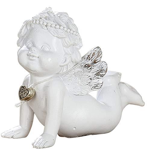dekojohnson Grabschmuck Schutz-Engel Figur Klein mit silbernem Herz Antik Weiss liebevolle Grabdeko Wetterfest 7cm Gross