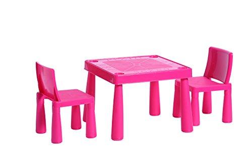 HomeStoreDirect® Kinderen Plastic Tuin Buiten Of Indoor Tafel en 2 Stoelen Set Voor Jongens Of Meisjes Traditioneel roze