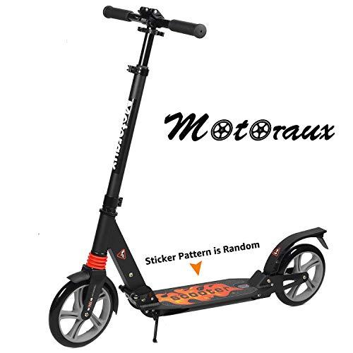 MOTORAUX Roller für Erwachsene Teenager, Kick Scooter mit höhenverstellbarer Doppelfederung und Schultergurt 8 Zoll Big Wheels Scooter Smooth Ride Commuter Scooter Kinder ab 10 Jahren