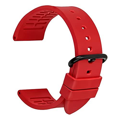 TNSYGSB Correa de silicona, correa de reloj deportivo de 20 mm, 22 mm, 24 mm, accesorios de reloj de goma flúor, pulsera para hombre, repuesto multicolor (color: rosa rojo B, tamaño: 24 mm)