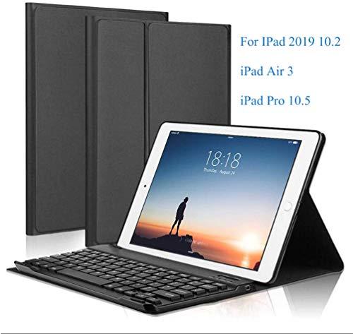 Smart bluetooth Wireless Keyboard Case Cover for IPad Air 3 2019, IPad 2019 10.2 Inch IPad Pro 2017 10.5, Thin Case with Detachable Wireless Keyboard, Auto Wake/Sleep - Black