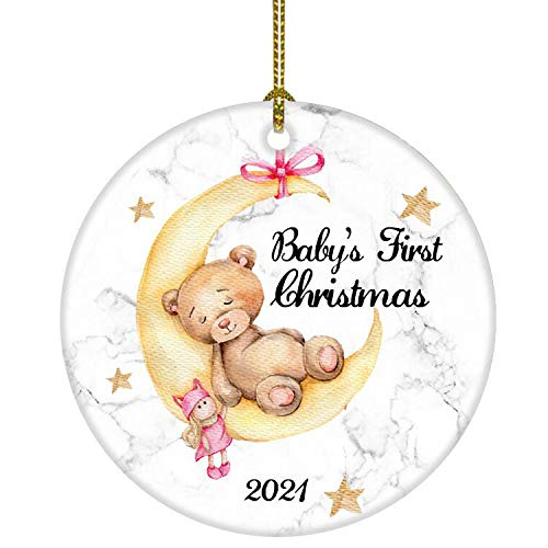 JUOOE Baby's First Christmas 2021 Bear on The Moon Ornament Christmas Wedding Decoration Baby Ornament Newlywed 2021 (Yellow and White Baby Bear)