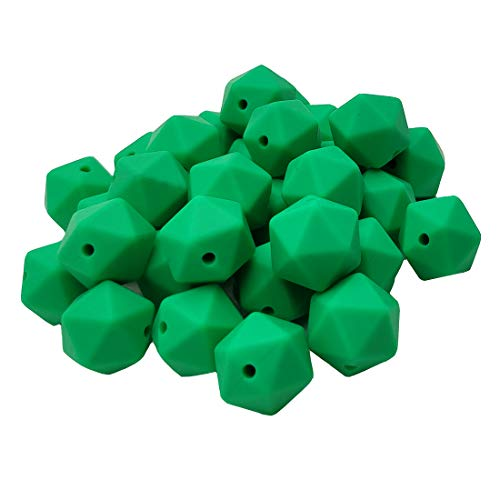 Check Out This 50pcs Kelly Green Color 17mm Silicone Icosahedron Beads Teething Pearl Beads Silicone...