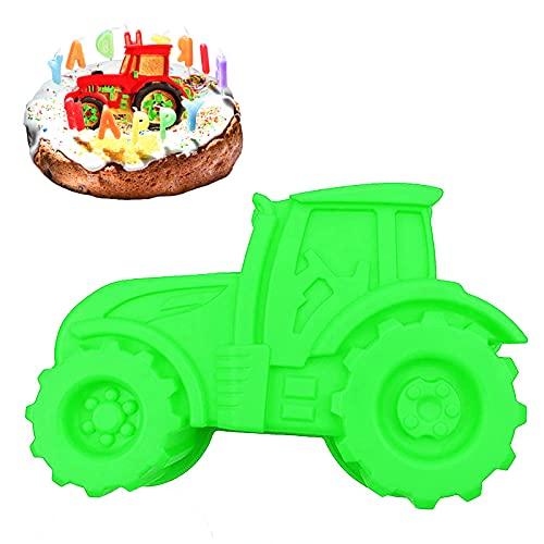 Backform Traktor, Auto Form Silikonform Grün Kuchenform zum Backen für Kindergeburtstag Silikonform Bulldog Motivform Silikontraktor für Kuchen, EIS, Schokolade, Brot, Dessert Pudding