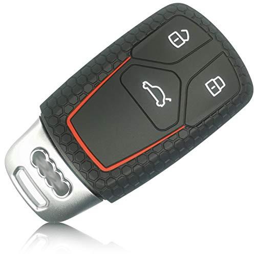 FoilsAndMore Funda Compatible con Audi Llave de Coche con 3 Botones SmartKey (sólo Keyless-Go) - Silicona Cubierta Protectora Cover Caso Clave in Negro Rojo
