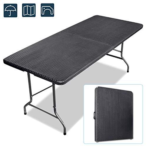 Froadp - Mesa de comedor plegable, rectangular, de plástico, con asa, 180 x 75 x 74 cm, multifunción, mesa de picnic, mesa de camping, mesa de jardín, Negro
