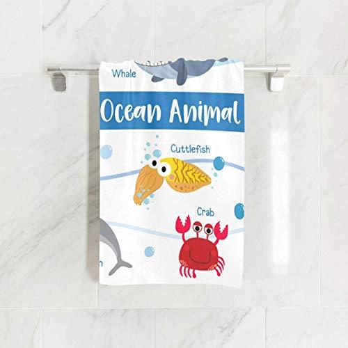 MRRUI - Toalla de Mano (40 x 70 cm), diseño de Animales de oca, Ballena, Calamar, Caballito de mar, Cangrejo, Tortuga de fácil Cuidado, Ligera y Ultra Absorbente